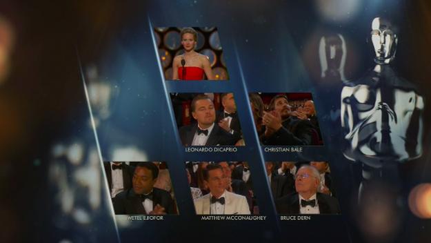 Entonces Jennifer Lawrence anuncia que el premio para el Mejor Actor es para Matthew McConaughey, por su papel en Dallas Buyer's Club .