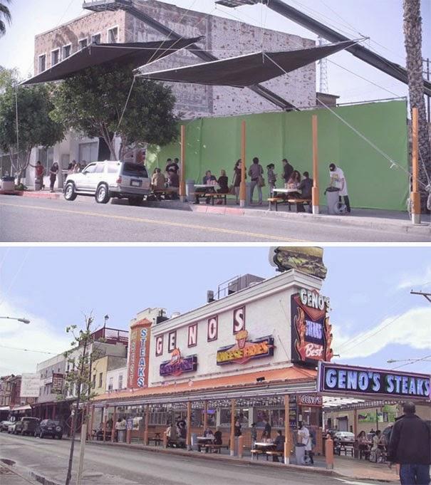 Escenas antes y después de efectos especiales