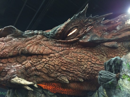 Life-Size replica of Smaug from The Hobbit (note: the glowing eyes opened and closed) at the WETA Booth