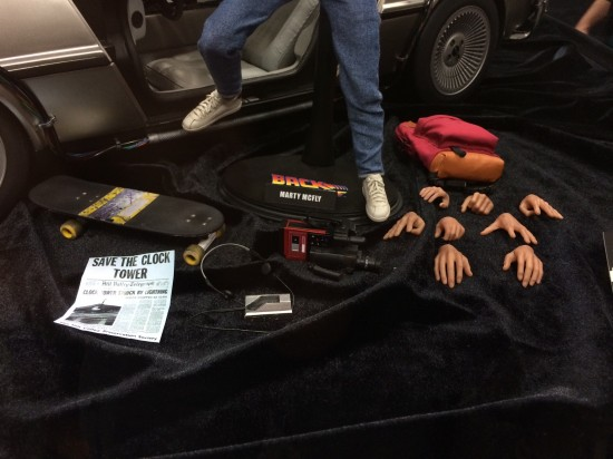Hot Toys 1/6th scale Back to the Future Marty McFly and Delorean Time Machine on display at Sideshow Collectibles