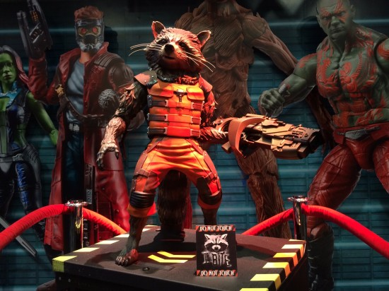 Life-size Rocket Raccoon statue (not for sale) on display at Hasbro