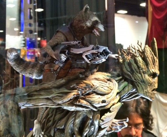 Guardians of the Galaxy Groot and Rocket Raccoon statue prototype on display at Gentle Giant