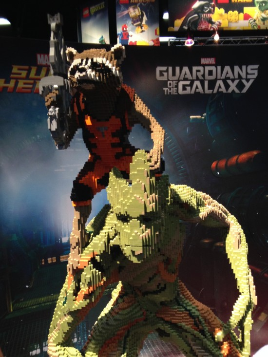 Guardians of the Galaxy LEGO sculpture on display at LEGO