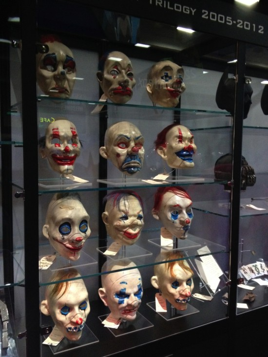 Joker accomplices masks from The Dark Knight on display at DC Booth