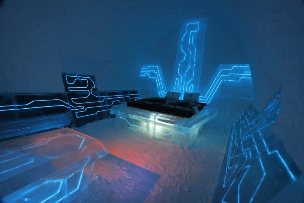 Habitación de hielo inspirada en Tron