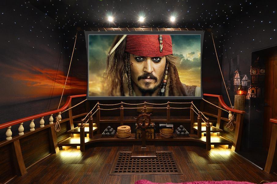 Home cinema que recrea ser un barco pirata