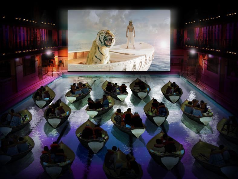 Home cinema en la piscina