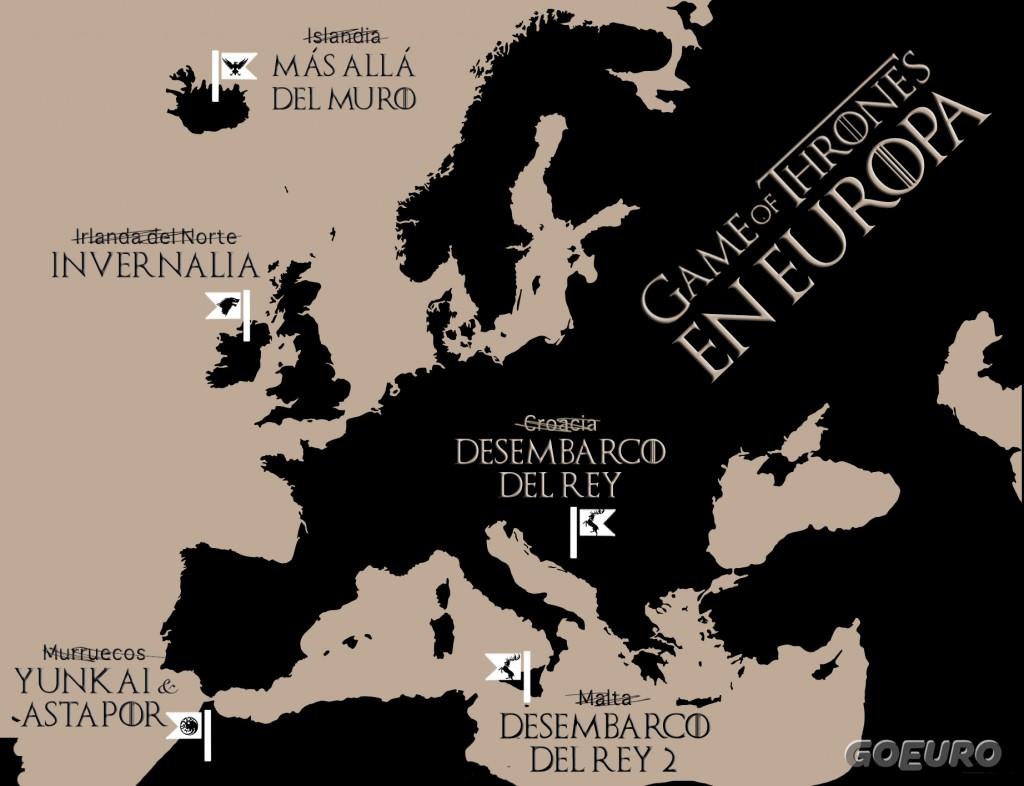 Localizaciones de juego de tronos en Europa