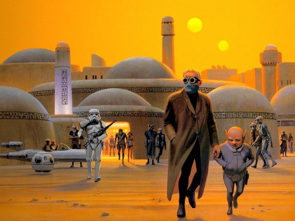 McQuarrie diseñó muchos de los personajes de la peli, incluyendo a Darth Vader, Chewbacca, R2-D2 y C-3PO