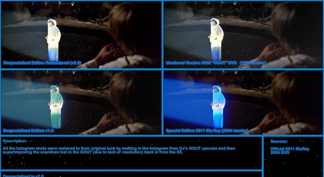 Restauración del holograma de Leia