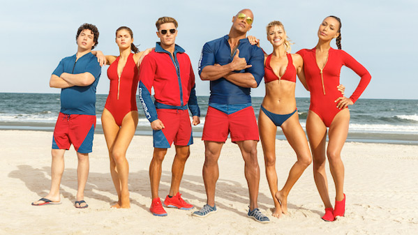 Poster peli Primer teaser trailer de la peli Los Vigilantes de la Playa, con Efron y Dwayne
